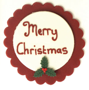Traditional Merry Christmas Plaque Sugarcraft Topper