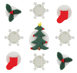 Shimmering Christmas Assortment Toppers - 9 Pack