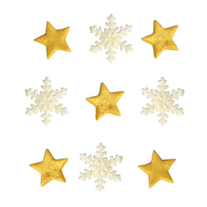 Shimmering Gold Star & Snowflake Toppers - 9 Pack