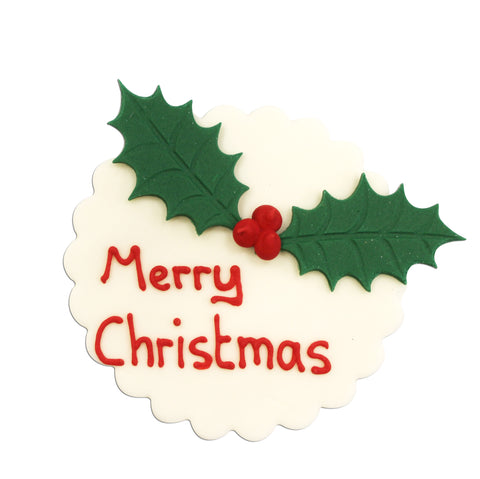 Holly Merry Christmas Plaque Sugarcraft Topper