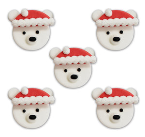 Festive Polar Bear Toppers - 5 Pack