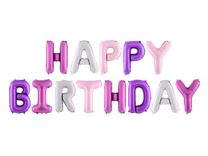 HAPPY BIRTHDAY Air-Fill Foil Phrase Balloon Bunting Multi Pinks