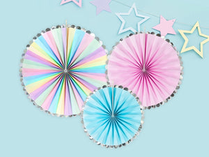 Unicorn Party Rosettes Fan Decoration : Pastels and Gold  by PartyDeco - 3pk