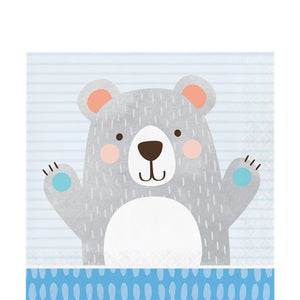 Birthday Bear Lunch Napkins  - 16 pack