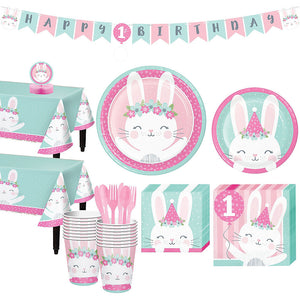 Birthday Bunny 1st Birthday Party Supplies Pack - Deluxe Party Kit For 16