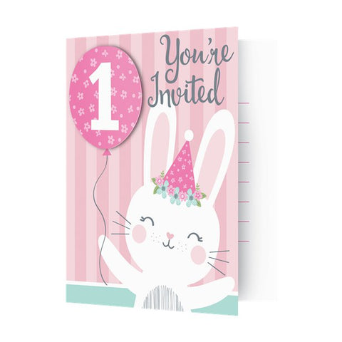 Birthday Bunny First Birthday Party Invitations  with Attachments - 8 Pk