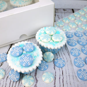 Blue & White Snowflake Sugar Toppers - 20 Pack