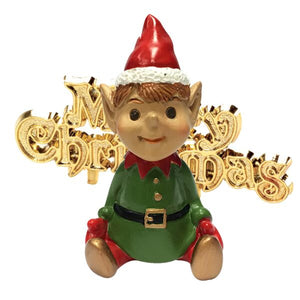 Santa's Elf Resin Cake Topper and Gold Merry Christmas Motto