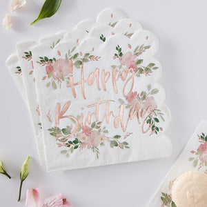 Ginger Ray Happy Birthday Foiled Paper Napkins - Ditsy Floral