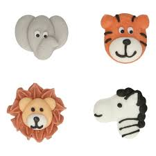 Jungle Animal Cake  Sugar Decorations Toppers - Funcakes - 8PK