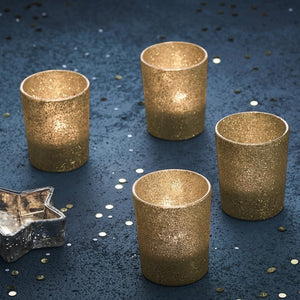 Gold Glitter Glass Tea Light Holder - Gold Christmas