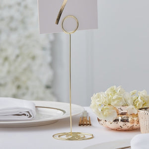 Gold Metal Table Number Holder - Gold Wedding Range by Ginger Ray