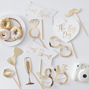 Wedding Photo Booth Props - Gold Wedding Range by Ginger Ray