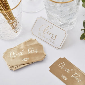 Gold Wedding Drink Tokens - Gold Wedding Range by Ginger Ray