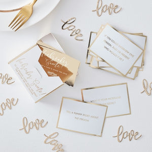 Wedding Table Trivia Ice Breaker Game - Gold Wedding Range by Ginger Ray