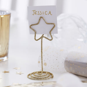 Gold Star Shaped Place Card Holders - Gold Glitter - Ginger Ray