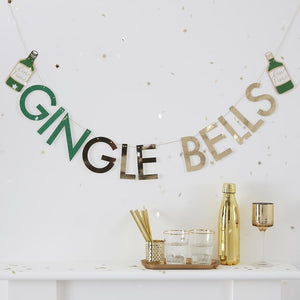 Glitter GINgle Bells Christmas Gin Party Bunting - Gold Glitter - Ginger Ray