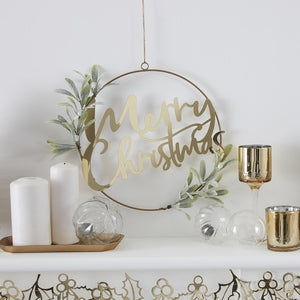 Gold Merry Christmas Door Wreath With Foliage - Gold Glitter - Ginger Ray