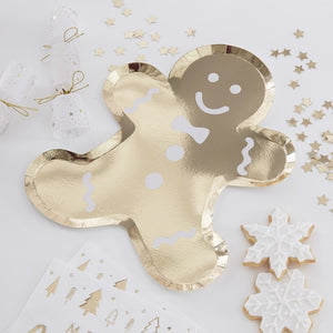 Gold Gingerbread Shaped Christmas Paper Plates - Gold Glitter - Ginger Ray