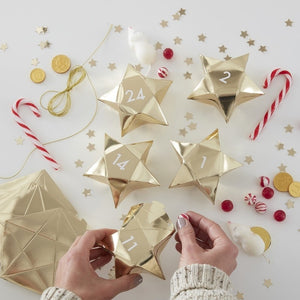 Gold Star Shaped Christmas Advent Boxes - Gold Glitter - Ginger Ray