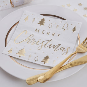 Gold Foiled Merry Christmas Paper Napkins - Gold Glitter - Ginger Ray