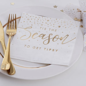 Gold Foiled Tis The Season To Get Tipsy Paper Napkins - Gold Glitter - Ginger Ray