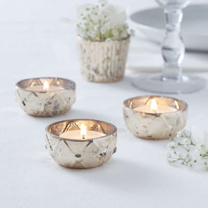 Gold Checked Glass Frosted Tealight Holder - Glassware Range by Ginger Ray