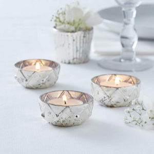 Silver Checked Frosted Glass Tealight Holder - Glassware Range by Ginger Ray