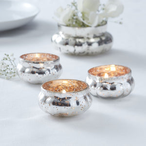 Gold Ribbed Frosted Glass Tealight Holder - Glassware Range by Ginger Ray