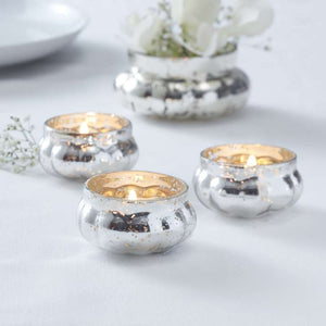 Silver Glass Frosted Tealight Holder - Glassware Range by Ginger Ray