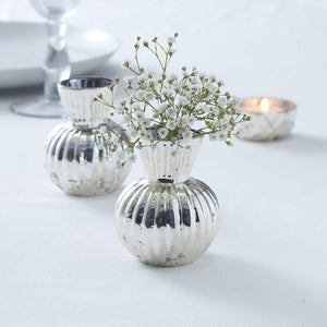 Silver Ribbed Flower Mercury Vase - Glassware Range by Ginger Ray