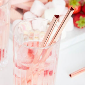 Rose Gold Heart Shaped Metal Straws - Ginger Ray