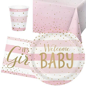 Welcome Baby Girl Baby Shower Party Pack - 8 Guests