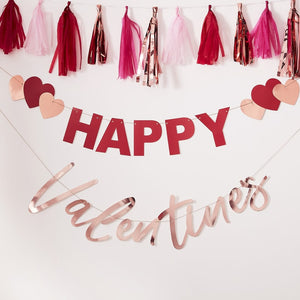 Rose Gold Foiled and Red 'Happy Valentines' Bunting With Hearts - Ginger Ray