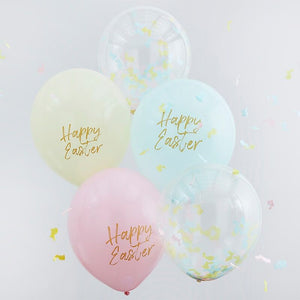 HAPPY EASTER PASTEL AND CONFETTI BALLOONS - GINGER RAY