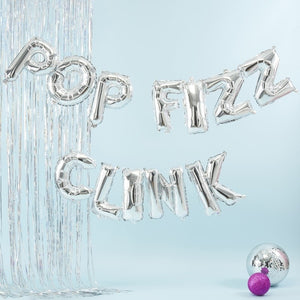 Silver Pop Fizz Clink Balloon Bunting - Jolly Vibes