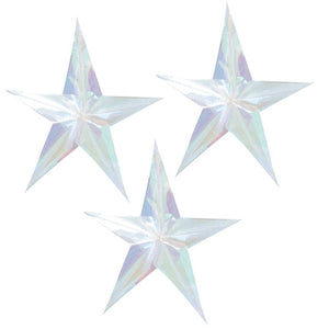 Holographic Hanging Star Decorations - Jolly Vibes