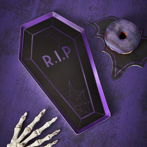 Coffin Shaped Halloween Paper Napkins - Let's Get Batty - Ginger Ray