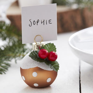 Christmas Pudding Christmas Bauble Place Card Holders - Let It Snow - Ginger Ray