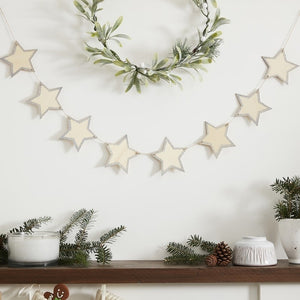 Wooden Star Bunting With Glitter Edges Hnaging Decoration - Let It Snow - Ginger Ray