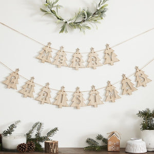 Wooden Tree Merry Christmas Bunting Decoration - Let It Snow - Ginger Ray