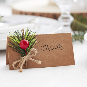 Christmas Kraft Place Cards With Foliage - Let It Snow - Ginger Ray