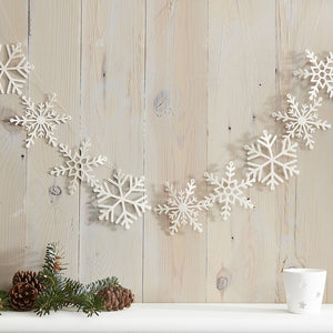 White Glitter Snowflake Christmas Garland Deocration - Let It Snow - Ginger Ray