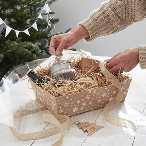 Kraft Christmas Present Hamper Basket Making Kit - Let It Snow - Ginger Ray