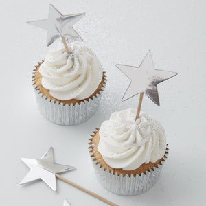 Silver Foiled Star Cupcake Pick Toppers