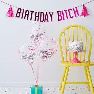 Birthday Bi@tch Pink Balloons & Bunting Pack - Naughty Party Range by Ginger Ray