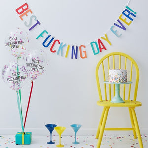 Best Fu@king Day Ever Banner Bunting And Balloons Kit - Naughty Party Range by Ginger Ray