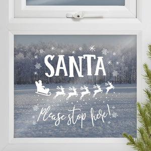 Santa Stop Here Window Sticker - Novelty Christmas