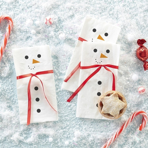 Snowman Scarf Paper Napkins - Novelty Christmas