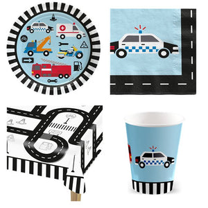 On The Road Transport Vehicle Cars Theme Party Pack for 8